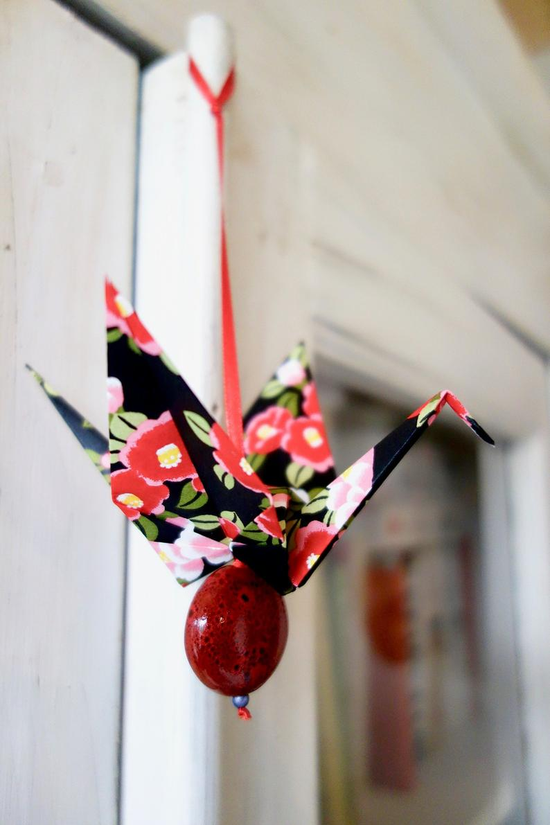 Bird Origami Lucky Charm Personalized Message Greeting Card Black And Red Japanese Paper Crane Style Retro Vintage Small Christmas Gift Small Christmas Gifts Paper Crane Origami Bird