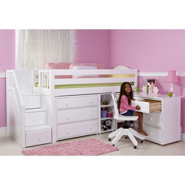 Twin Low Loft Bed With Stairs Storage Desk Low Loft Beds Kids Beds With Storage Girls Loft Bed