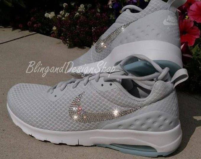 65e39def58c88b Women s Gray Nike Air Max Motion LW Swarovski Crystal Rhinestones Bling  Running Tennis Shoes Authentic New in Box