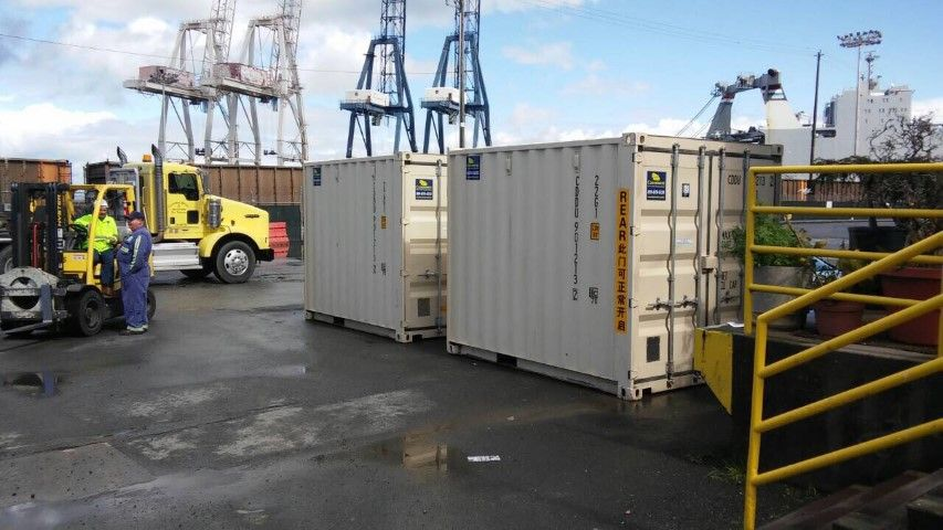Shipping Container Double Storage Container Blue Sky Cranes Oakland Port Conexwest Sticker Bedroom Color Schemes Shipping Container Gallery
