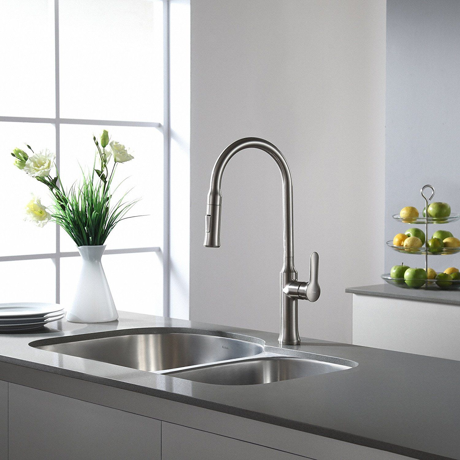 Kraus kpf 1630ss nola single lever pull down kitchen faucet stainless steel finish