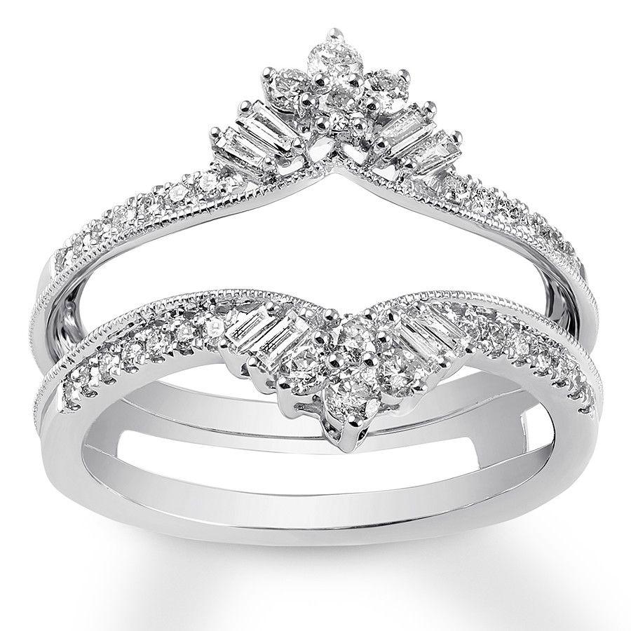 Jared Diamond Enhancer Ring 1/2 ct tw Round/Baguette 14K