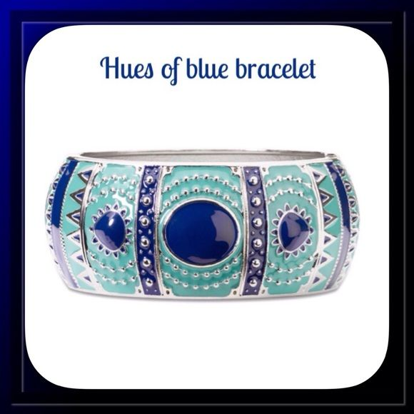 Hues of Blue Bangle Bracelet Oversized and full of details, this cool, hinged blue bracelet makes a statement alone Jewelry Bracelets