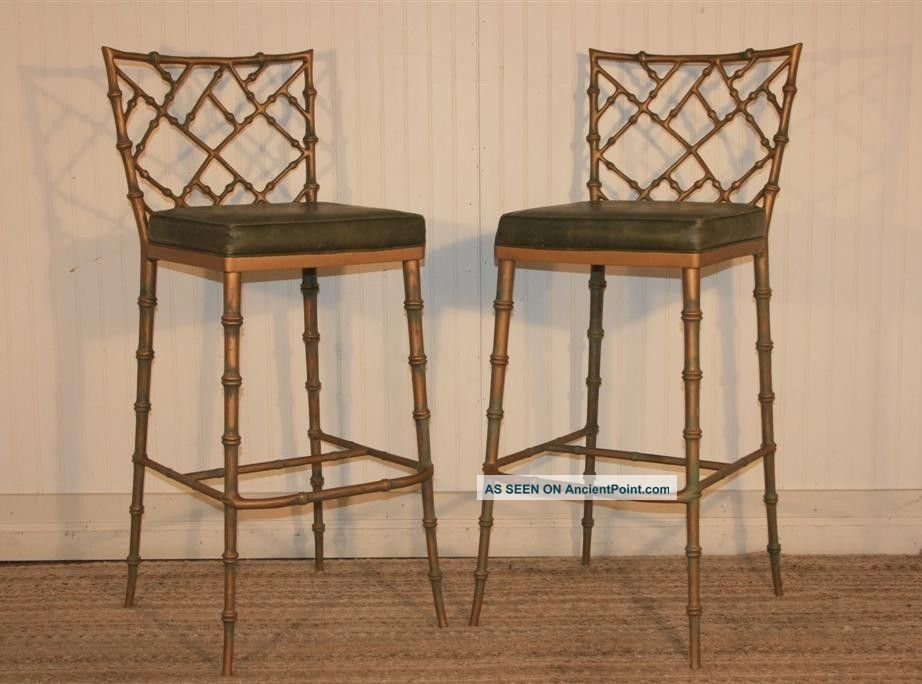 Pair Hollywood Regency Faux Bamboo Chippendale Metal Bar Stools Dining Chairs Post-1950 photo  sc 1 st  Pinterest & Pair Hollywood Regency Faux Bamboo Chippendale Metal Bar Stools ... islam-shia.org