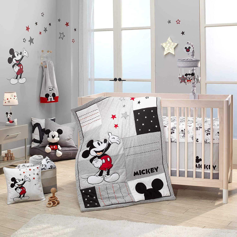 Lambs Ivy Disney Baby Magical Mickey Mouse 3 Piece Crib Bedding Set Gray Disney Baby Rooms Disney Baby Nurseries Baby Boy Room Nursery 3 piece crib bedding set