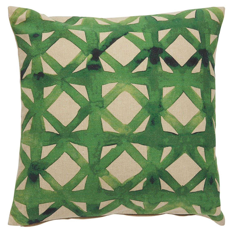 A Pretty Watercolor Trellis Design In Deep Green Hues Splashes Across This Artistic Pillow A Perfect Pi Green Throw Pillows Indoor Throw Pillows Throw Pillows