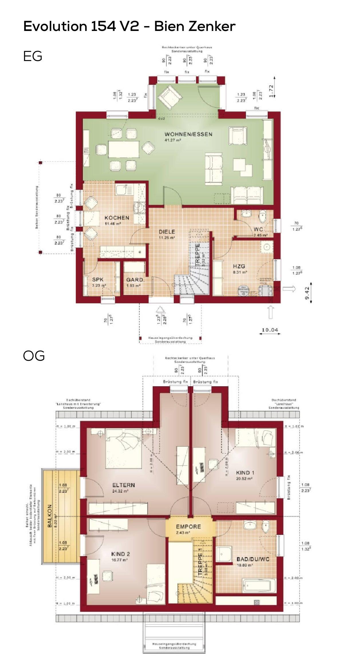 150 qm wfl erdgeschoss mit wintergarten erker ohne keller obergeschoss haus grundrisse fertighaus evolution 154 v2 bien zenker hausbau ideen