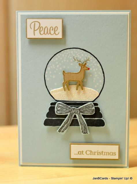 Stampin' Up! Sparkly Seasons Peaceful Wreath and White Christmas Stamp Sets www.janbcards.com