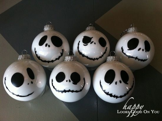 Jack Skellington Ornaments - Materials: White Acrylic Paint, Glass ...