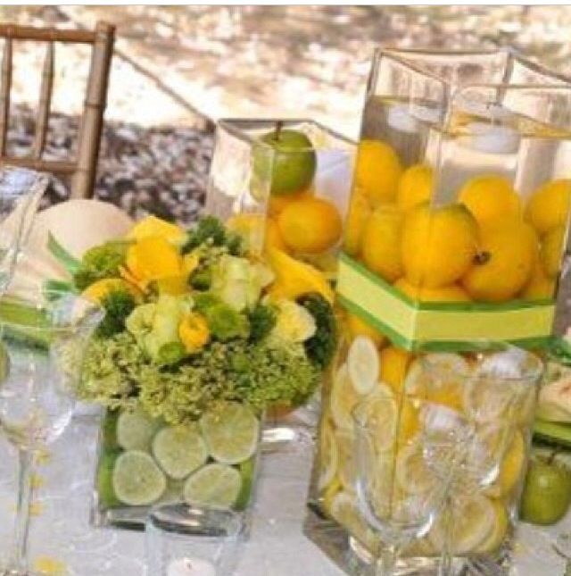 Lemon And Lime Centerpiece For A Yellow Green Wedding