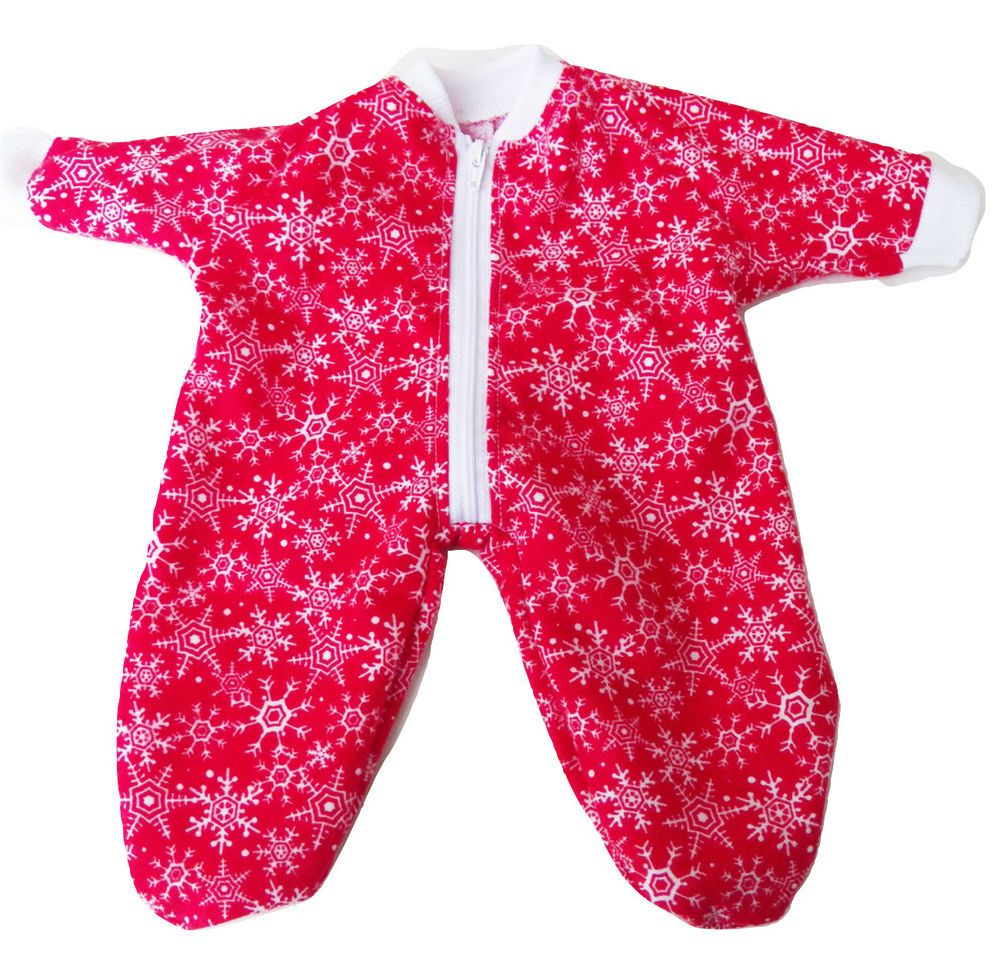 Bitty Baby Doll Clothes Fit 15 Inch Boy Sleeper Pajamas Sleeper Blue Christmas Clothes Only
