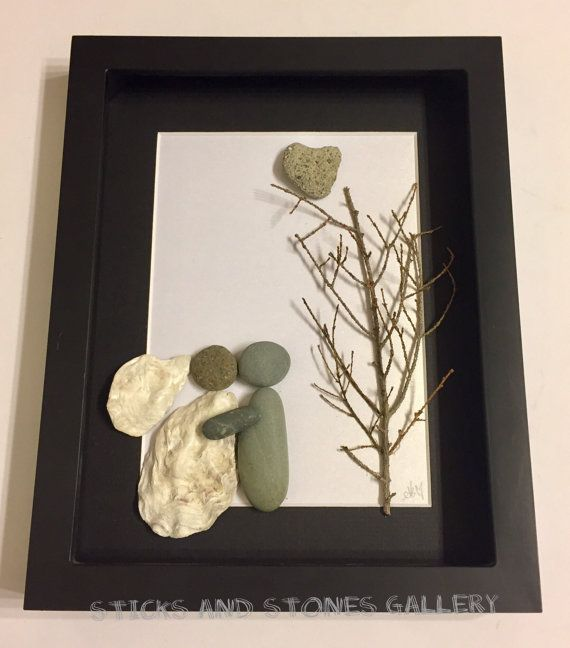 Wedding Gift Unique Engagement Gift Pebble Art By