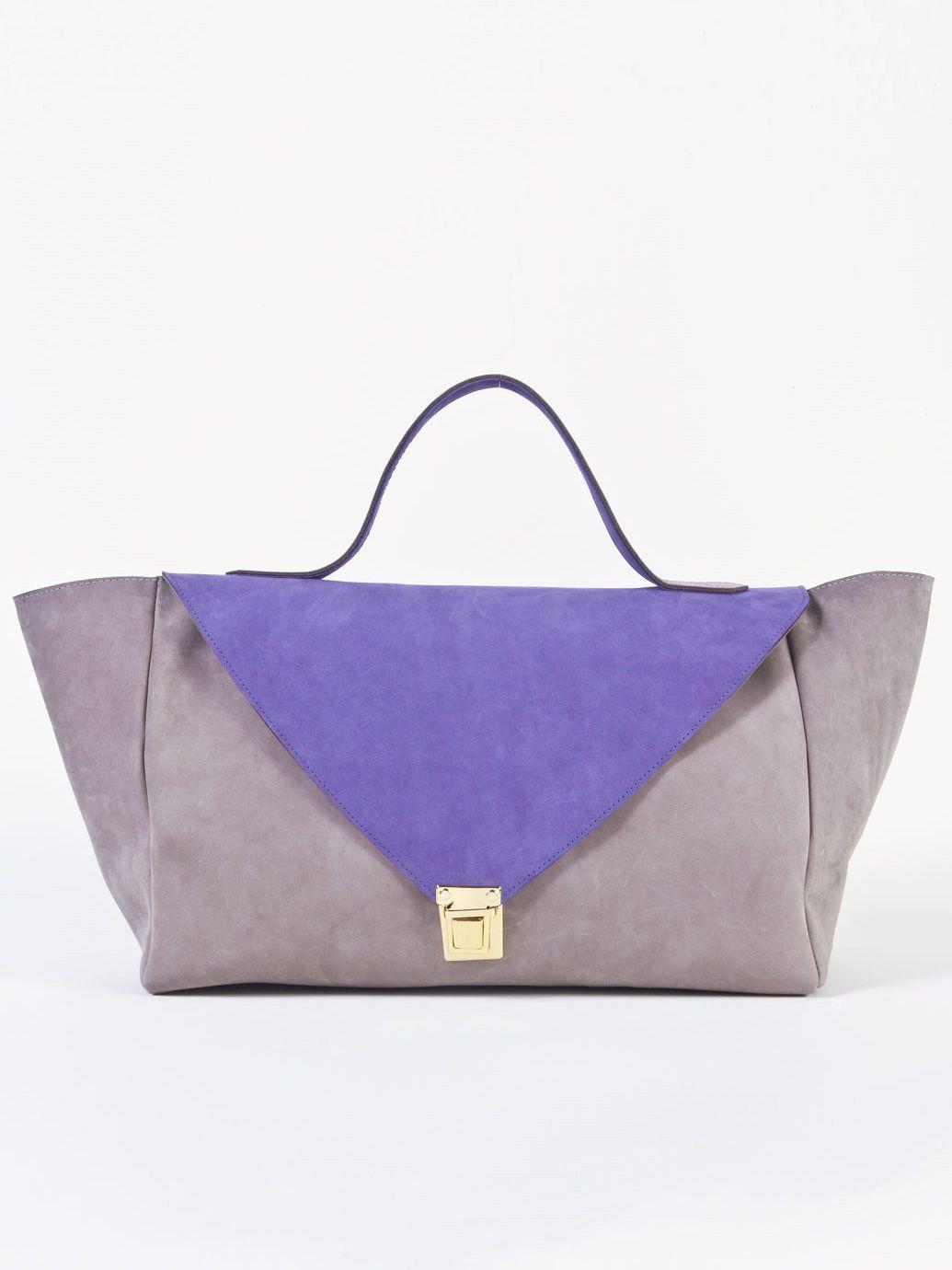 edaac123cef4 American Apparel - Grey   Purple Suede Leather Envelope Case ...