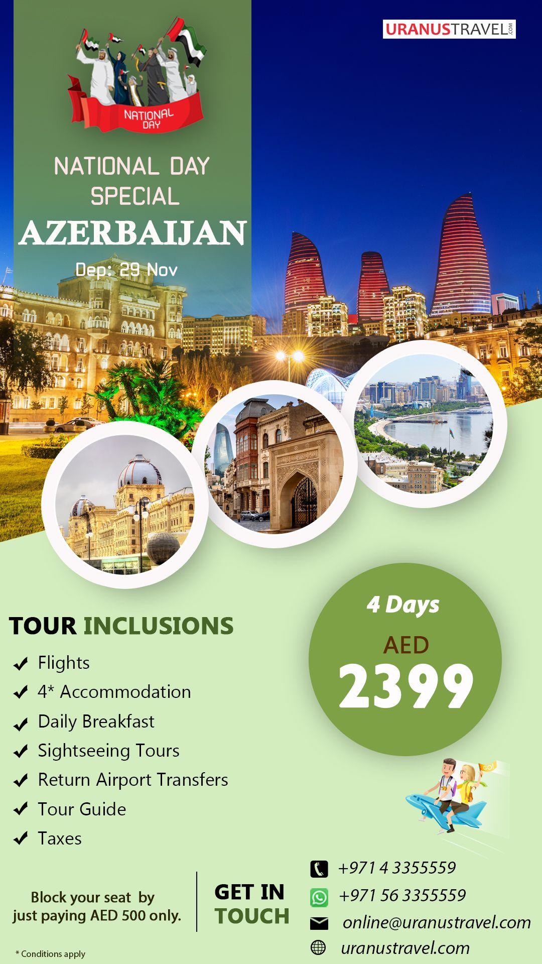 Holiday Package To Baku On This Uae National Day Baku Uaenationaldayholidays Azerbaijan Tourpackage Tour Packages Holiday Packaging Europe Tours
