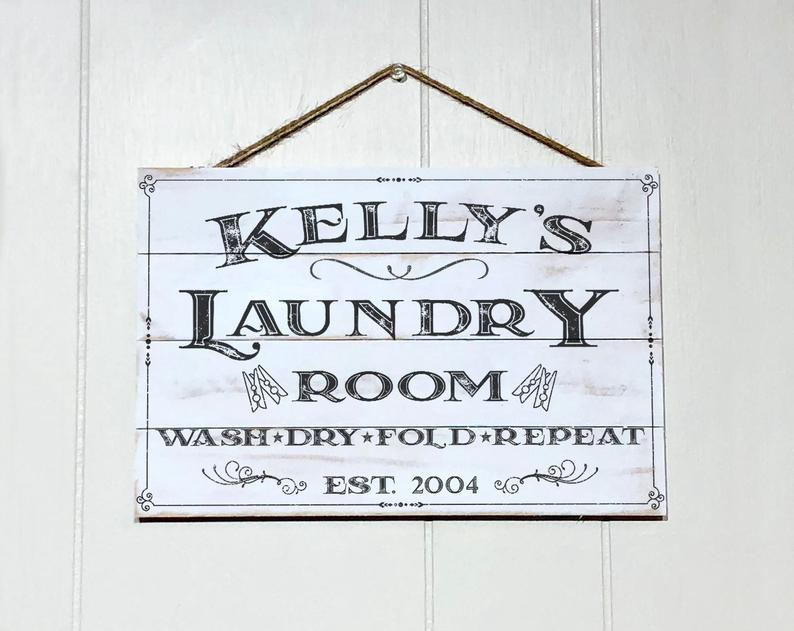Personalized Laundry Room Decor Sign Custom Rustic Wood Etsy Laundry Room Decor Signs Wood Signs Home Decor Wood Laundry Sign