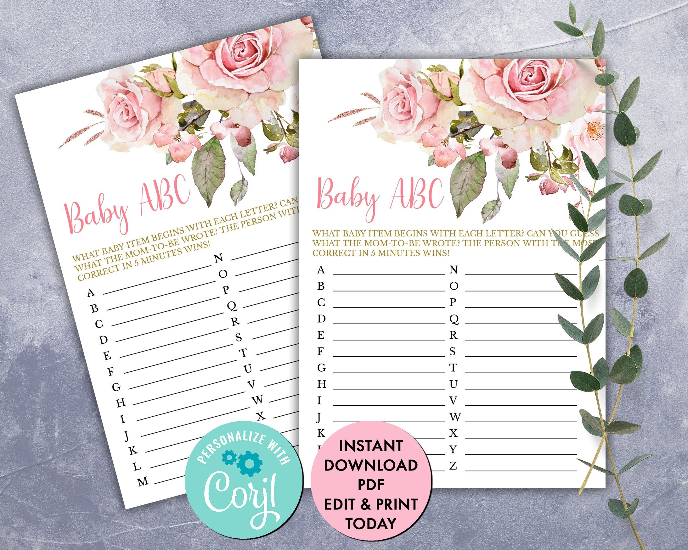 Blush Pink Floral Baby Abc Game Cards Printable Girl Baby