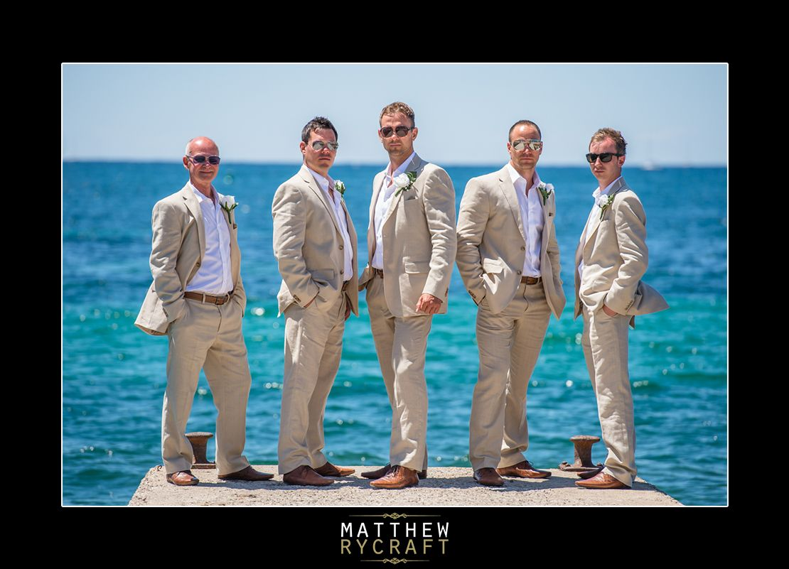 Groomsmen abroad in Ibiza, Linen Suits, Cream, Wedding, Photography ...