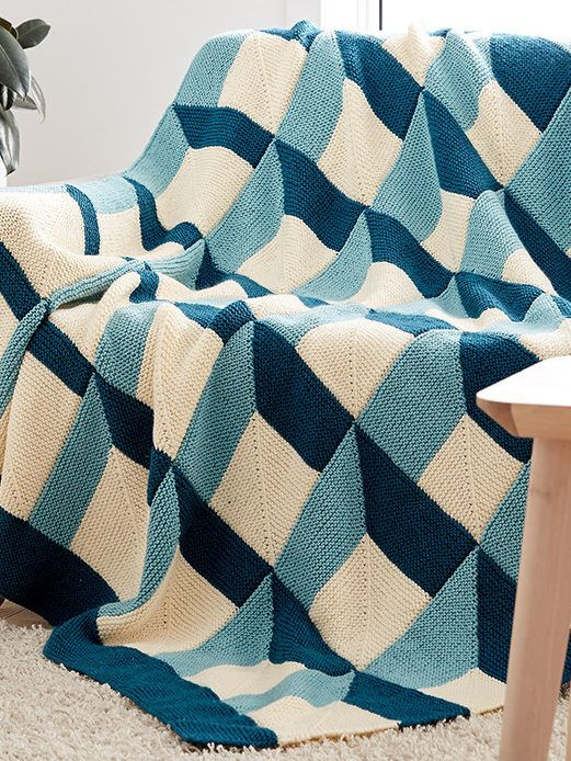 Free Knitting Pattern for Shadowbox Blanket - Three color afghan ...