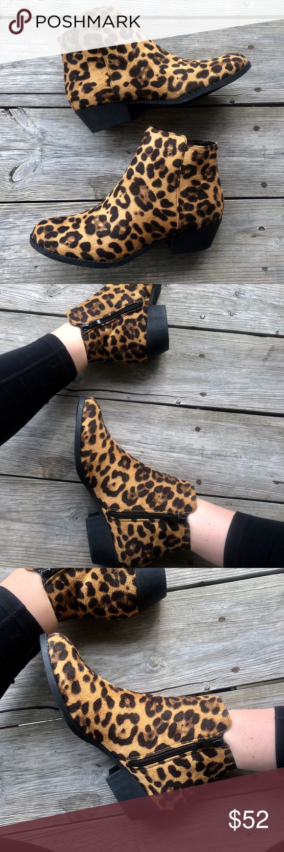 80fda0c56830 Cheetah print booties Cheetah print booties. Black sole Inside zip True to  size and so comfy. Faux fur feel Shoes Ankle Boots & Booties
