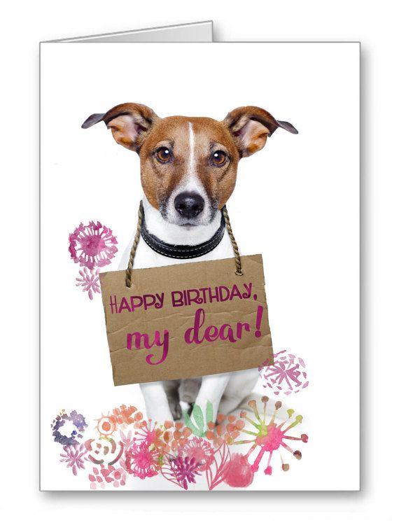 Greetings Card Happy Birthday Cards Dogs Jack TheLazyCatStudio