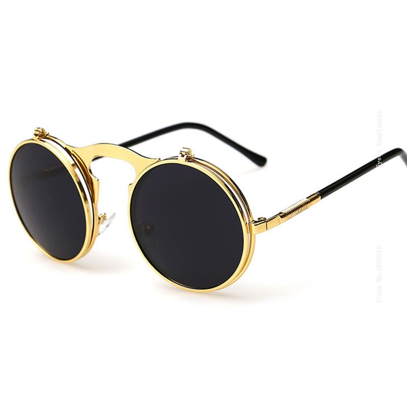 55f7d9e1892 Best Flip Up Sunglasses Polarised 80s 90s Antique Small Round Wrap Over  Sunglasses Funny Circle Glasses Vintage Spectacles 3057