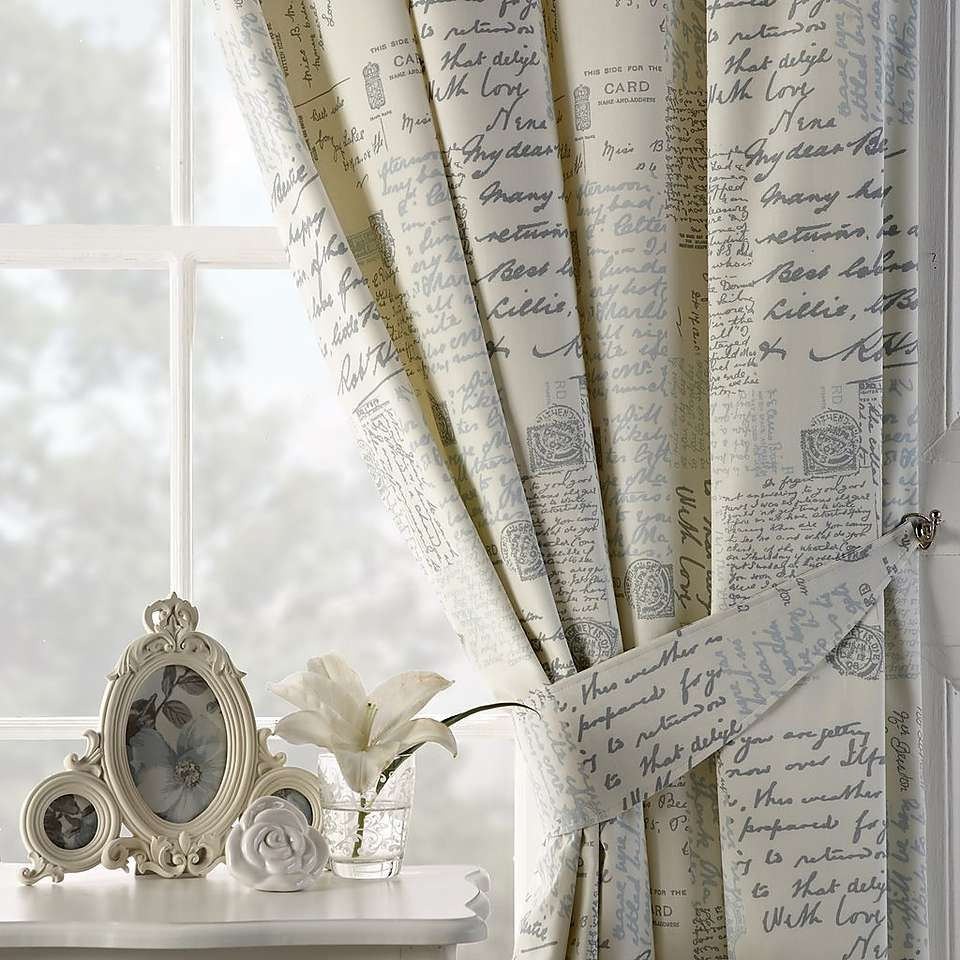 dining chair covers dunelm folding table with storage duck egg vintage paris script thermal pencil pleat curtains | pinterest ...