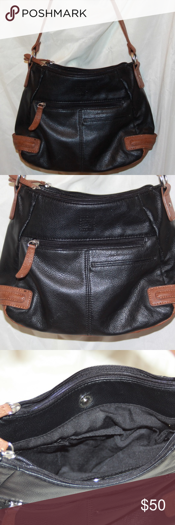 Stone Company Genuine Leather Handbag Purse Measures 8h X 11w Strap 22 Inches 3 Outside Pockets 2 Zip