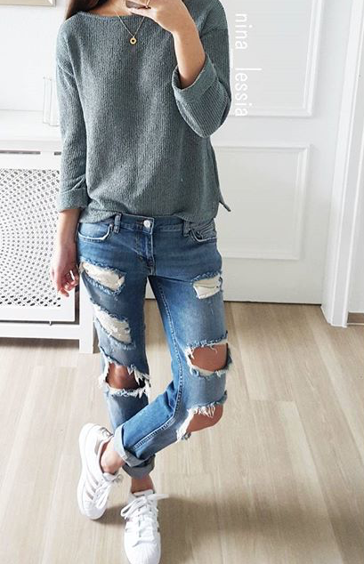 200 Cute Ripped Jeans Outfits For Winter 2017 Winter Clothes And Jean Outfits