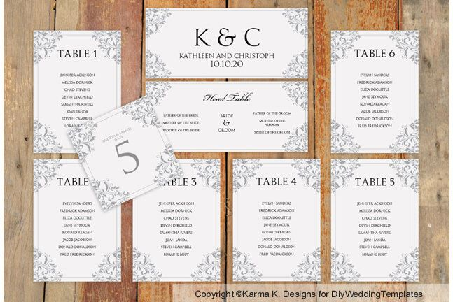 Wedding Seating Chart Template - Download Instantly - EDIT YOURSELF ...