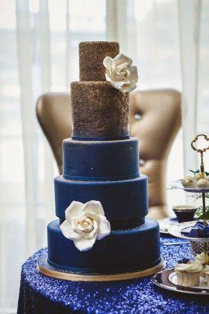 Royal Blue And Gold Wedding Cake