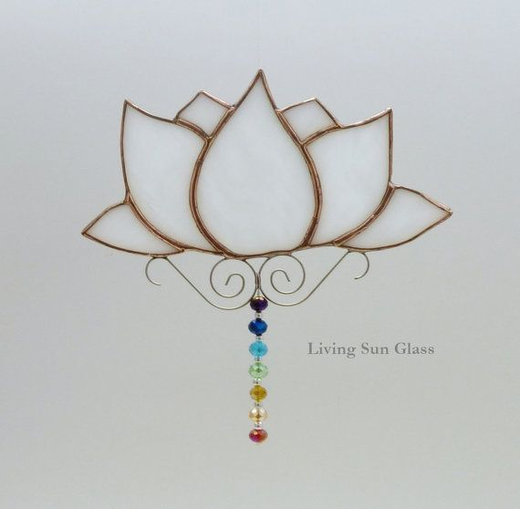 Lotus Flower With Chakra Colours Stained Glass Sun Catcher Office