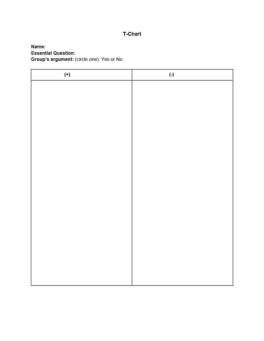 Printable T Charts 2018 Printables And Menu T Chart Template Chart Template Template For Word