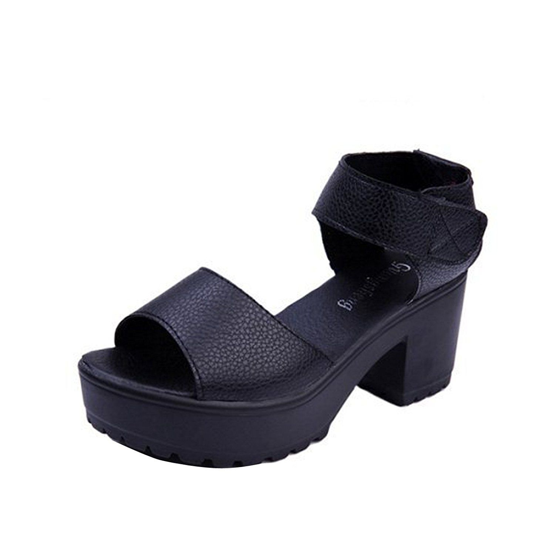 7a099b34a Women Summer Sandals Velcro High Platform Shoes Block Heel chunky Creeper  Pump    You can
