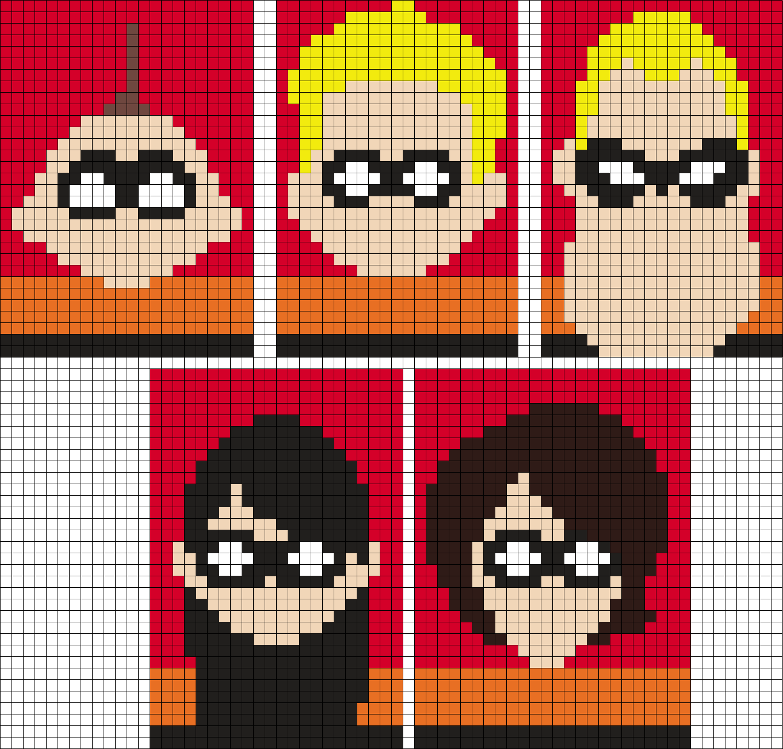 The Incredibles (Square) Perler Bead Pattern / Bead Sprite | Cross ...