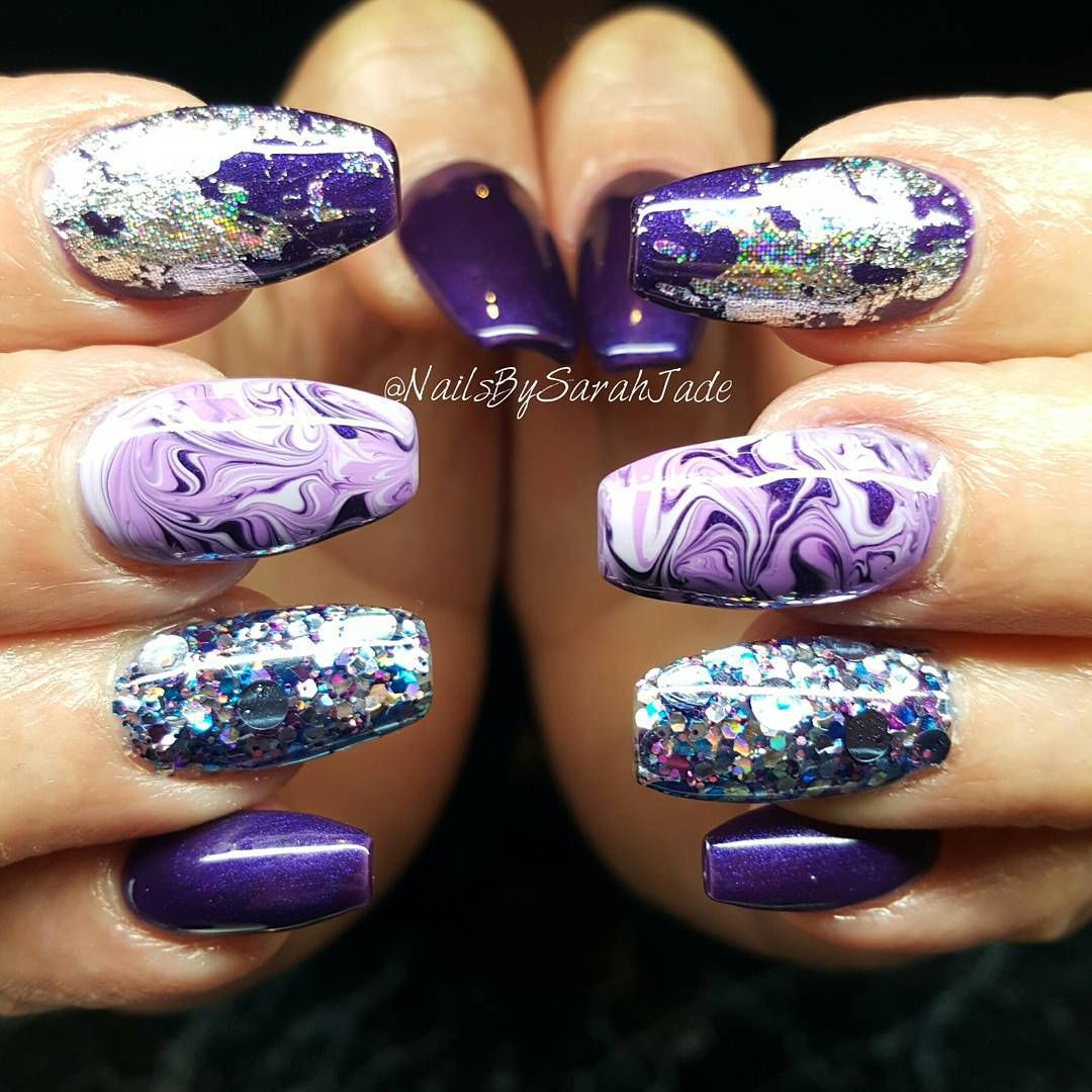 Nail Polish Marble Effect On Glass: Purple Is My Favorite Colour! 😍😍 Using 'Frozen' Glitter