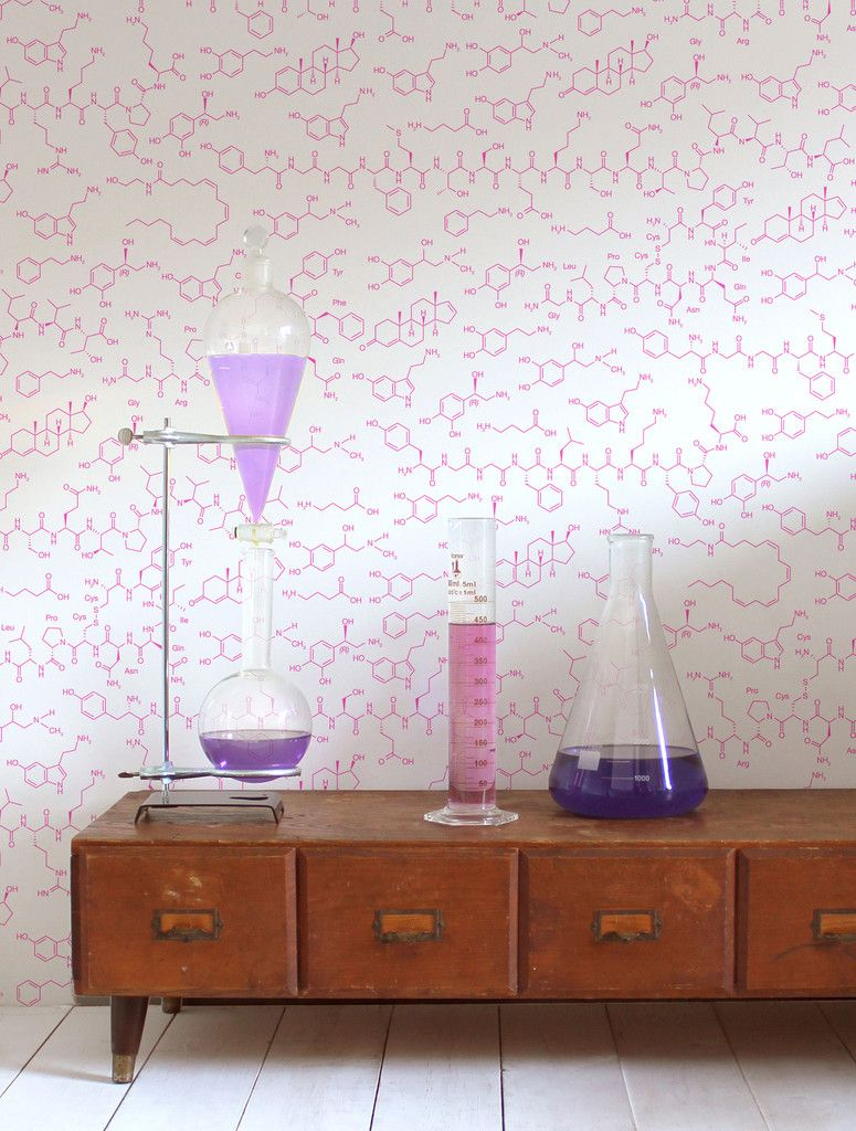 Love Molecules Wallpaper in Neon by Aimée Wilder Quirky
