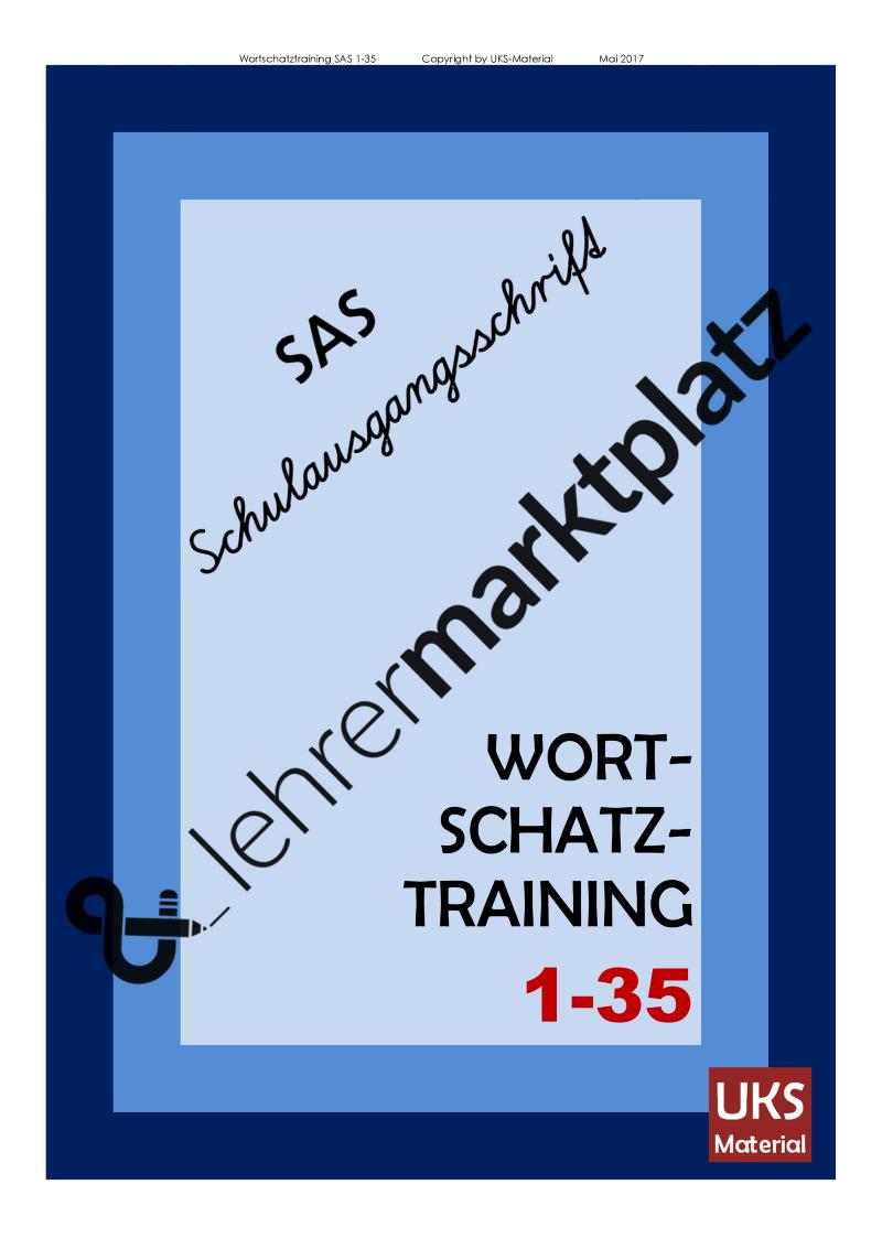 Konzentriertes WORTSCHATZ- und Rechtschreibtraining 1 bis 35 in ...