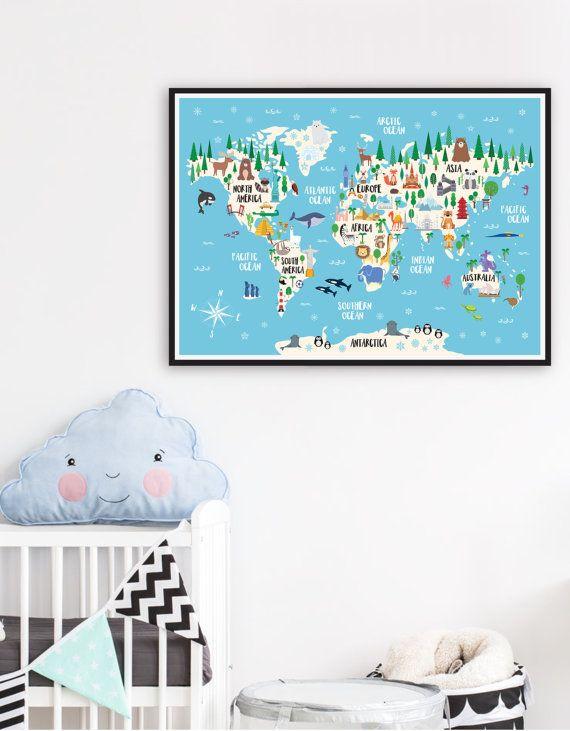 Animal World Map Print Kids World Map Poster Nursery World Map - Big world map for kids