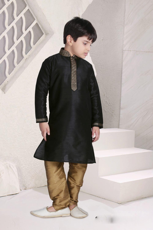 6882ff1b744d Black Jacquard designer Kids Wear Kurta Pajama for all occasions