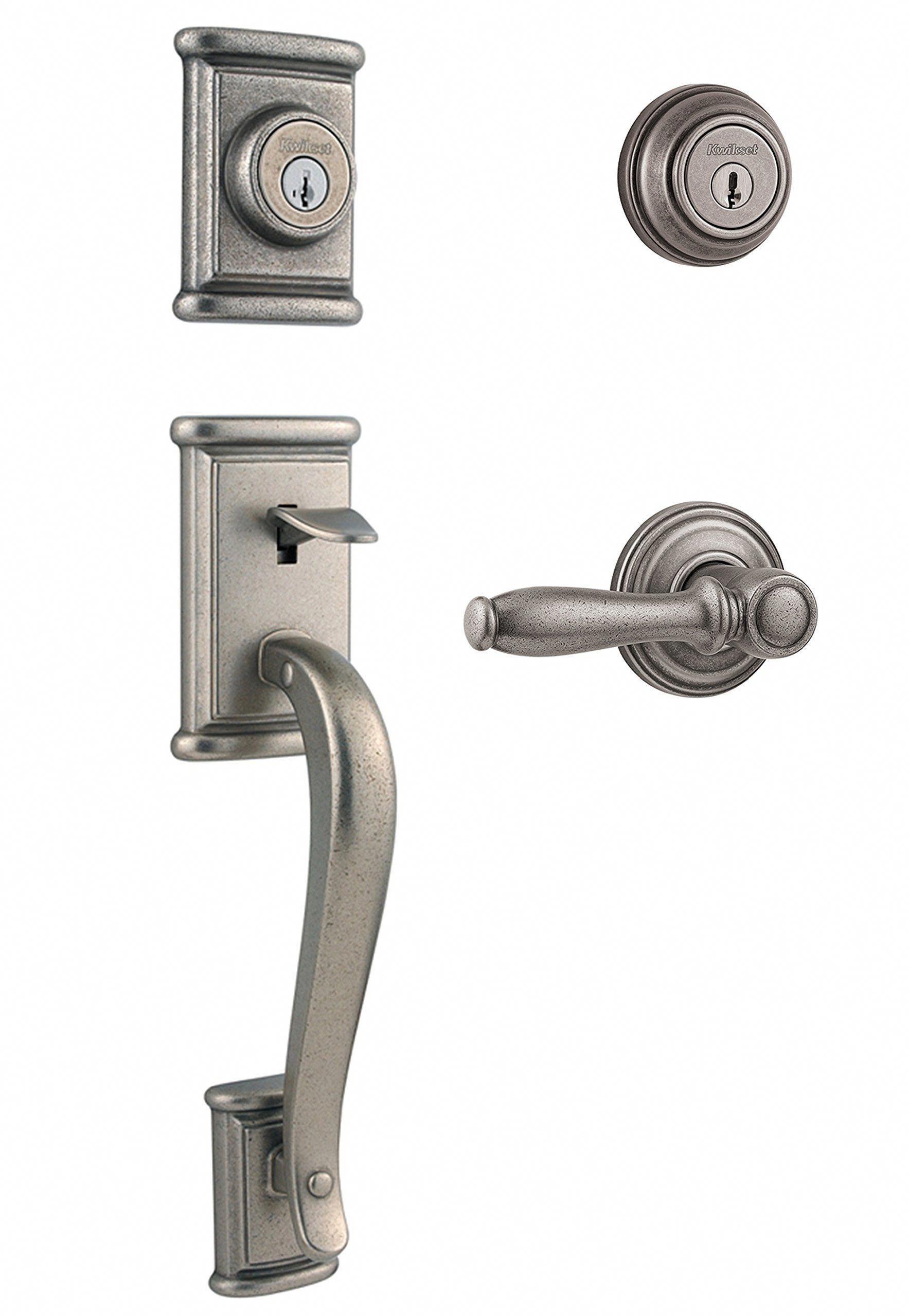 Kwikset Ashfield Double Cylinder Handleset W Ashfield Lever Featuring Smartkey In Rustic Pewter Frontdoor Front Door Hardware Sliding Door Handles Kwikset