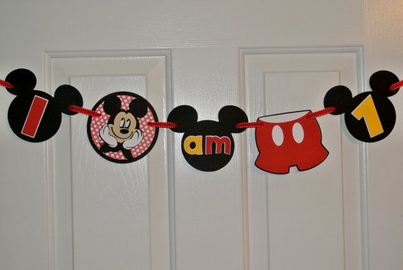 Mickey Mouse high chair banner Mickey Mouse by KraftingwithPatty, $13.00
