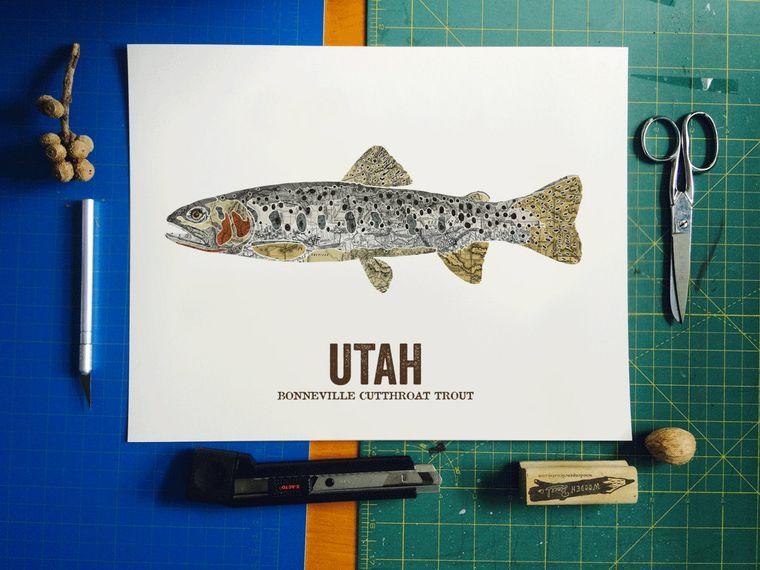 Utah State Fish Map art Nature Outdoor art