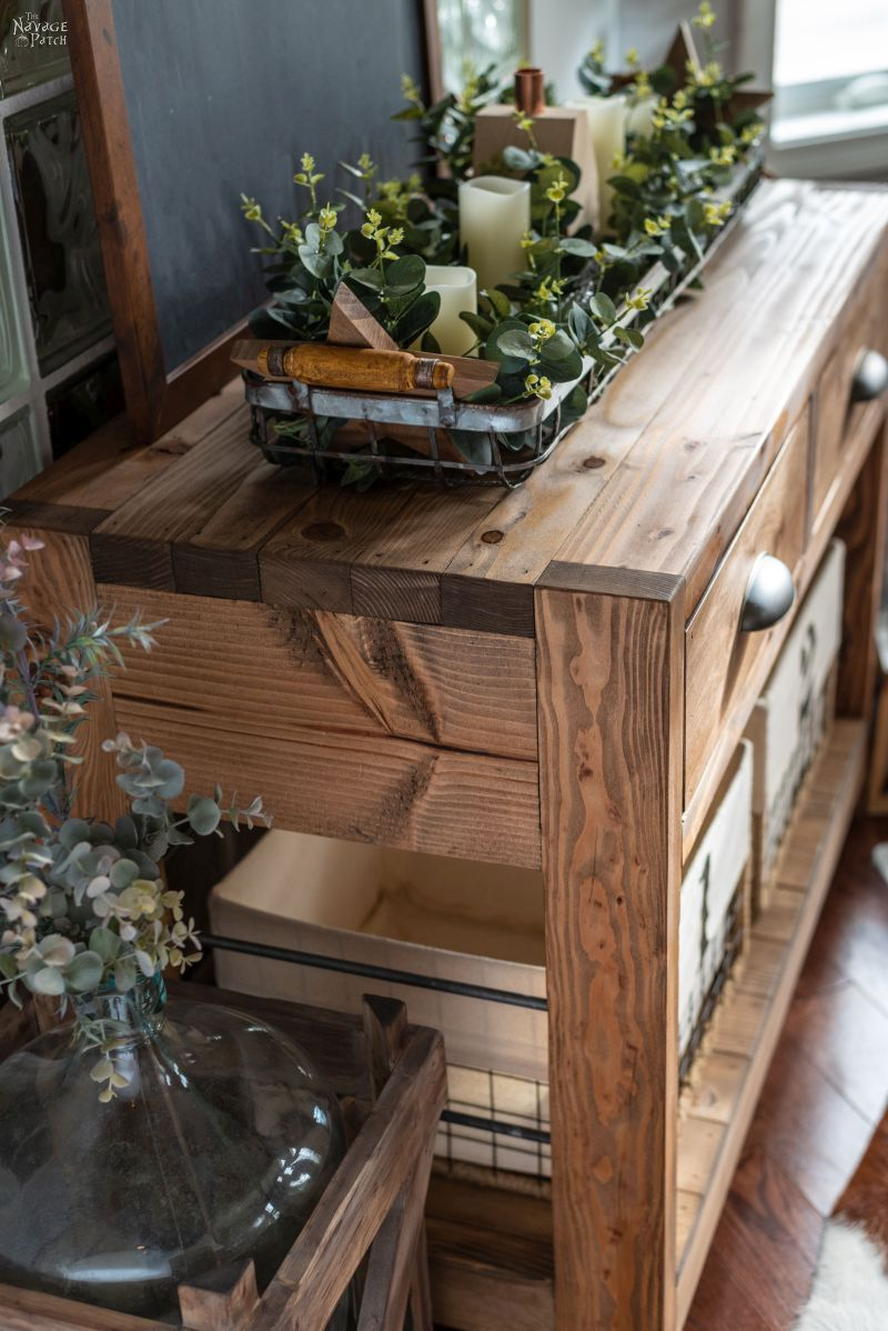 Diy rustic console table with free plans rustic console