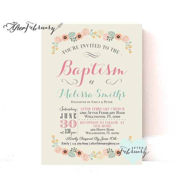 Girl Baptism Invite Invitation Girl Baptism By Afterfebruary