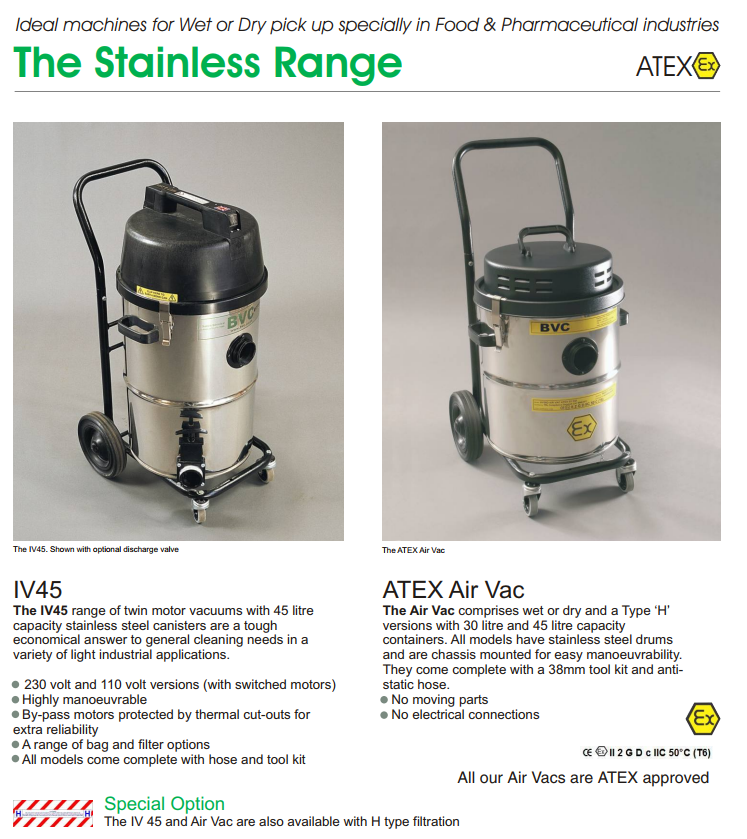 THE STAINLESS RANGE (ATEX) | INDUSTRIAL & COMMERCIAL VACUUM