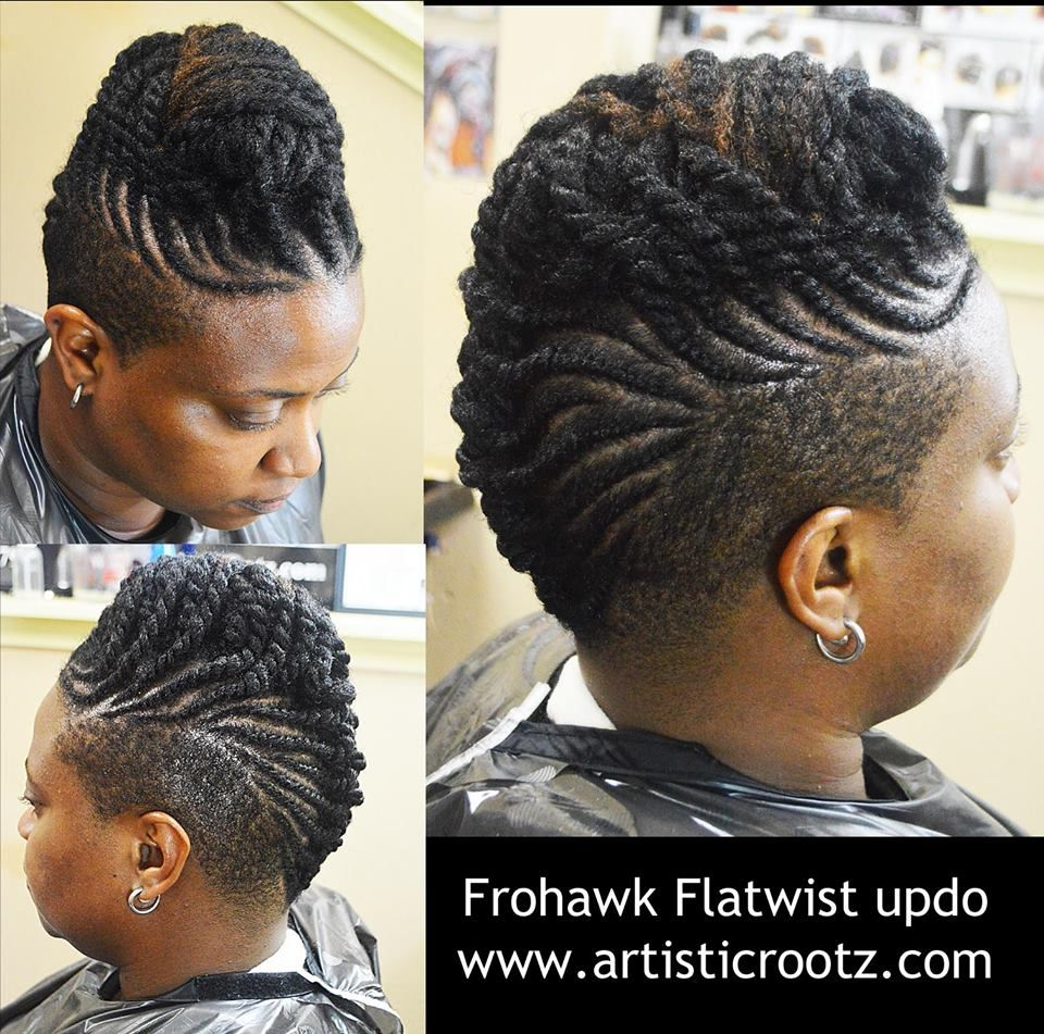 shaved sides & twisted updo natural