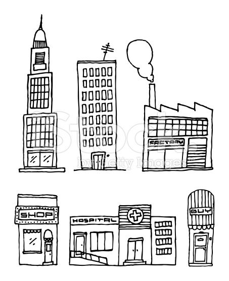 Vector City Buildings Ink drawing Ink drawings Vector art and