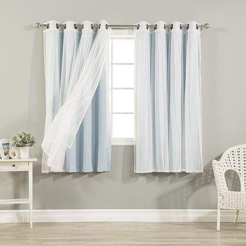 Contemporary Sky Blue 52 x 63 In Sheer Lace and Blackout Window Treatments Set of For Your House - New curtain treatments Luxury