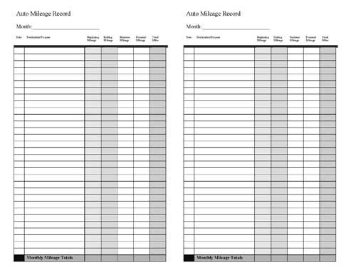 Vehicle Mileage Log - Expense Form - Free Pdf Download | Free