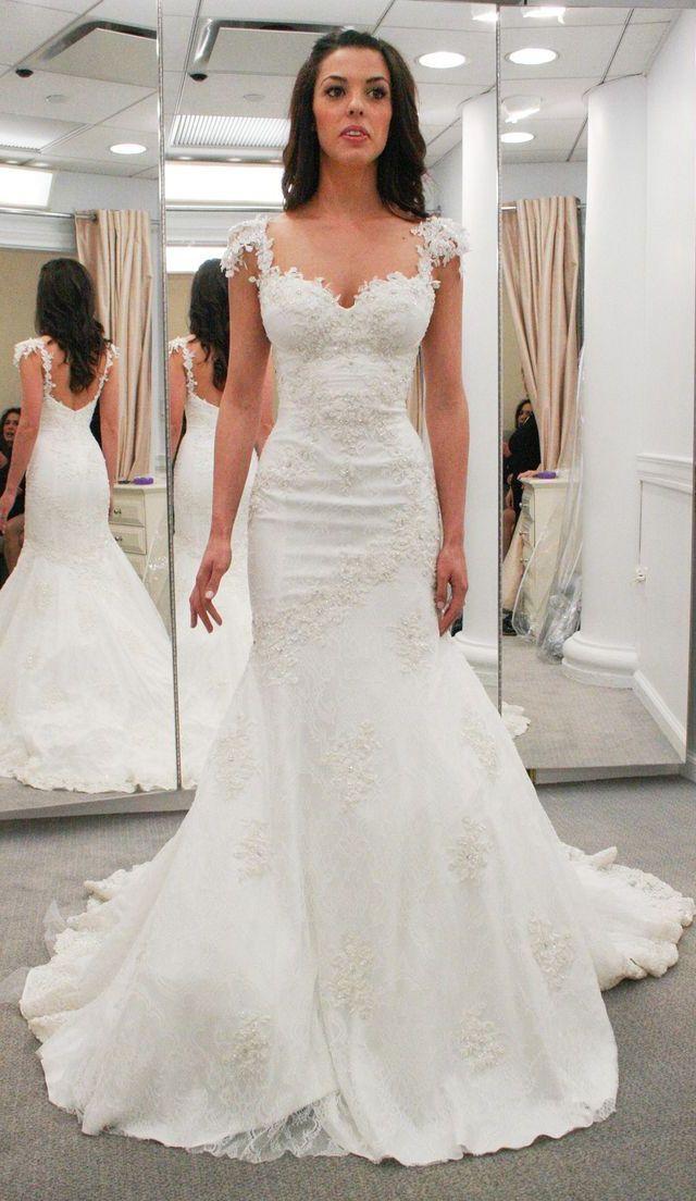 Outlet Applique Ivory Wedding Dresses Magnificent Long Straps ...